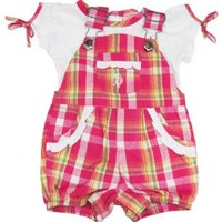 U.S. Polo Assn. Infant-Girls 0-24M Pink Plaid Ropmer with Ruffle Solid Tee: Clothing