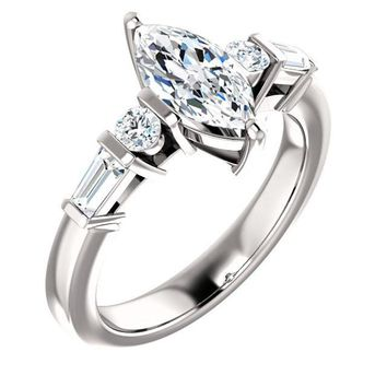 1.0 Ct Marquise Diamond Engagement Ring 14k White Gold