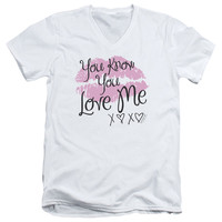 GOSSIP GIRL/YOU LOVE ME - S/S ADULT V-NECK - WHITE -