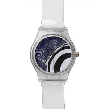 Blue and black striped fractal. wrist watch