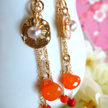 Orange quartz gold shell pearl tassle earrings