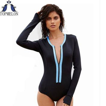 DCCKUH3 Swimsuit  long sleeve Swimwear Vintage One-piece Surfing Female Biquini One Piece Swimsuit monokini Cut Out bathing suit