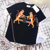 Gucci Women Casual Fashion Personality Logo Letter Double Tiger Pattern Print Short Sleeve T-shirt Tops