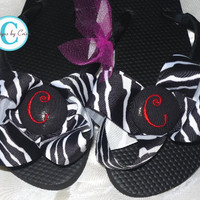 Zebra Bow Flip Flops, animal print leopard custom personalized monogrammed embroidered bridesmaid  bow colors.  flip flops  ladies and girls