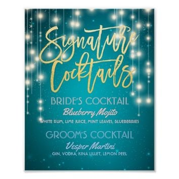Gold Signature Cocktail Drink Menu Wedding Decor Poster