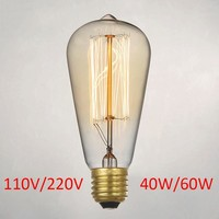 Retro lamp st64 vintage edison lamp e27 incandescent bulb 110v 220v holiday lights 40w 60w edison bulb lampada for home lighting