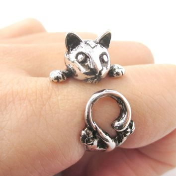 Creepy Kitty Cat Shaped Animal Wrap Around Ring in Shiny Silver | US Size 5 to Size 8.5