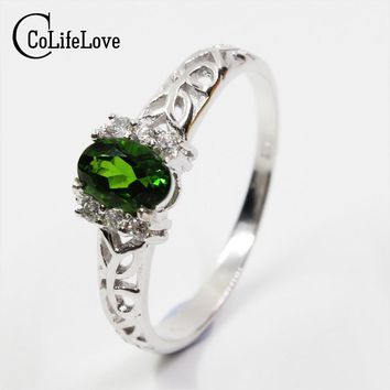 Promotion natural russian emerald ring pure 925 solid sterling silver ring for woman classic sterling silver jewelry