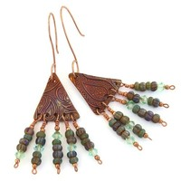 Paisley Copper Handmade Chandelier Earrings Czech Glass Swarovski Boho