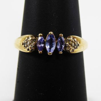 14K Gold Ring Purple Tanzanite Ring, Marquise Gemstones and Tiny Diamonds Size 7 1/4 US Modern Vintage 1960s 1970s Petite Band Style Ring