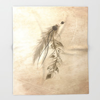 Bohemian Feather Throw Blanket by LouJah | Society6