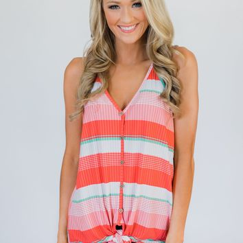 Fun in the Sun Striped Knot Top