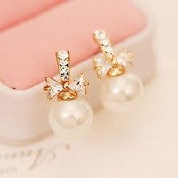 Pearl and Bow Full Rhinestone Earrings