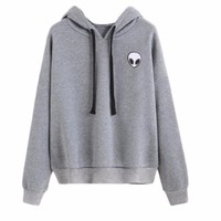 Girls Women Spring Autumn Casual Pullovers Hoodies Sweatshirt  Ladies Loose Alien Embroidery Hoodies Tops