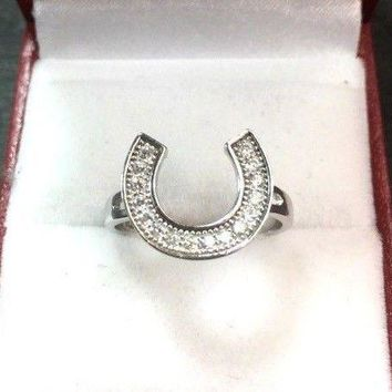 New 0.25ct Cubic Zirconia 14k Layer On 925 Silver Lucky U Horseshoe Ring Size7.5