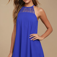 Tell Me Royal Blue Swing Dress