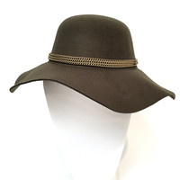 Chain Melody Wool Floppy Hat In Olive