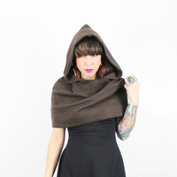 KiKI - Hooded Poncho/ Snood / Cape / Circle Hood - Brown