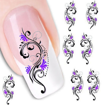 Water Transfer Slide Decal Sticker Nail Art Tips Toe Decoration XF1423
