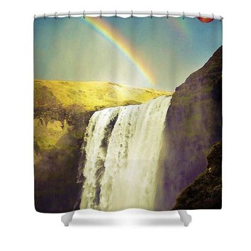 Watercolor Waterfal Series No 3 - Shower Curtain
