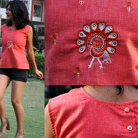 pink womens top- embroidred top-tribal top-indian motif top- thread work top-ethnic top-khadi top- cotton top- womens blouse-pink blouse