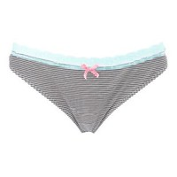 Lace-Trim Striped Thong Panties by Charlotte Russe - Black Combo