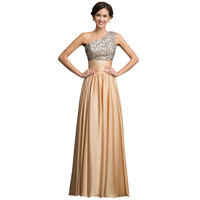 New Arrival One Shoulder Sequins Casual Party Dress Women Long Maxi Prom Evening dresses 2016 Floor Length Evening Gowns 7529