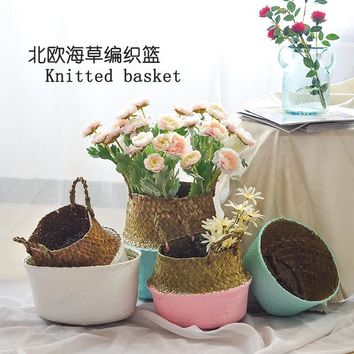 Seagrass Laundry Basket Folding Handmade Rattan Straw Flower Pot Planter Wicker Clothing Toy Storage Basket Home Organization