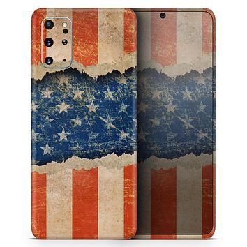 Scratched Surface Peeled American Flag - Skin-Kit for the Samsung Galaxy S-Series S20, S20 Plus, S20 Ultra , S10 & others (All Galaxy Devices Available)