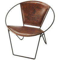 Milo Iron and Leather Accent Chair