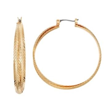 LC Lauren Conrad Textured Crisscross Nickel Free Hoop Earrings | null