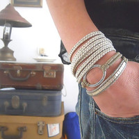 Textured oval circle, Fawn brown macrame and square nickel beads -  A Double Wrap Bracelet