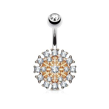 Gem Paved Round Shield 316L Surgical Steel WildKlass Belly Button Navel Rings
