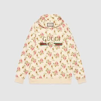 GUCCI Rose Print Hooded Cotton Sweatshirt One-nice™