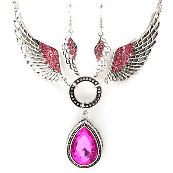 pink angel wing necklace and earring set