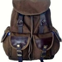 Military Inspired Stylish Backpack Multiple Pockets Canvas Day Pack Brown