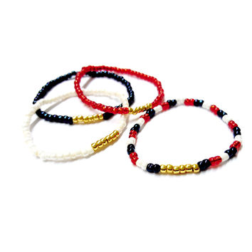 USA Seed Bead Stackable Single Stretch Bracelets