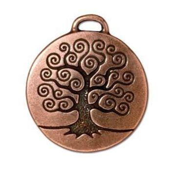 94-2304-18 - TierraCast Antique Copper Pewter Tree of Life Charm/Pendant, 24mm | Pkg 2