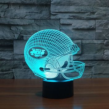 LED New York Jets Team Neon Light Signs 3D Football Helmet Visual Lamp Home Decor Night Light Colorful Xmas Table illusion Lampe