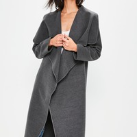 Missguided - Grey Oversized Long Sleeve Waterfall Duster Coat