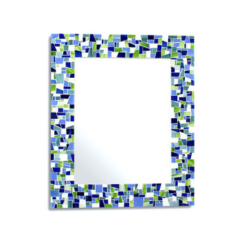 Decorative Mosaic Wall Mirror in Blues, Green, and White Stained Glass - 4 Sizes Available