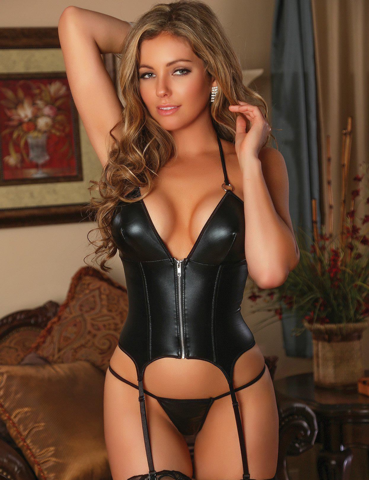 ec074b3a12c Liquid Onyx Zipper Merry Widow Corset and G-string.  47.00 from Just Damn  Sexy