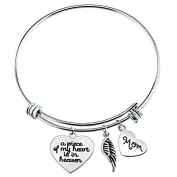AUGUAU Paris Selection A Piece of My Heart is in Heaven Mom Memories Expandable Bangle Bracelet, 2.5""