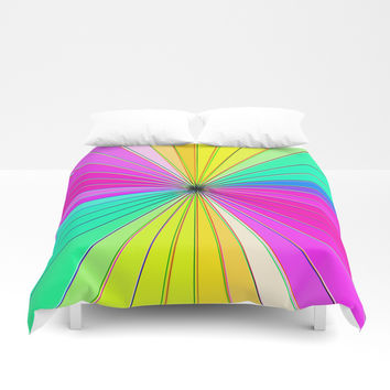 Color Burst I (Hot Pink // Minty Green) Duvet Cover by AEJ Design