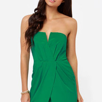 Cutie Pie Strapless Green Dress