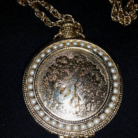 Vintage Gold Tone Pressed Powder Locket Necklace With Tiny Faux Pearls and Floral Design Embossed
