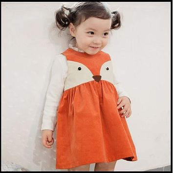 Sweet Toddler Babies Girls Fox Style Casual Dresses Ruffles Fall Winter Fashion Dresses Orange Color Christmas Dress