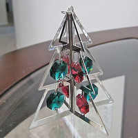 Swarovski Prisms Christmas Tree Ornament made w/ Red & Green Prisms Silver Plate