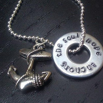Hope anchors the Soul necklace - FREE SHIPPING - custom hand stamped with anchor charm, personalized jewelry with quotes and verses