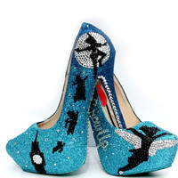 Peter Pan Glitter Heels with Swarovski Crystals
